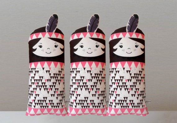 Native American Indian doll pink brown purple Scandinavian RetroMini cushion