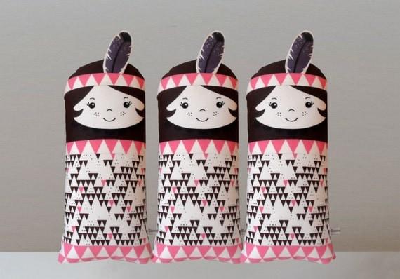 Native American Indian doll pink brown purple Scandinavian RetroMini cushion