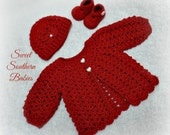Baby Sweater Gift Set with Beanie and Booties - Newborn to 24 months