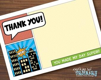 Superhero Thank You Card, Flat Card, EDITABLE ThankYou Note, INSTANT DOWNLOAD, digital printable file