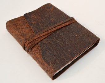 Personalized Pigskin Leather Bound Journal Custom Handmade to Order Travel Diary Notebook (411C)