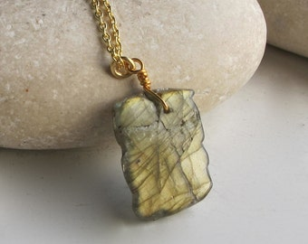 Layering Labradorite Slab Necklaces- Rectangle Shape Labradorite Necklaces- Everyday Statement Necklace- Jewelry Gifts for Her
