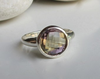 Stackable Ametrine Ring- Round Amethyst Citrine Ring- Bi Color Gemstone Ring- Unique Solitare Stone Ring- Sterling Silver Faceted Ring