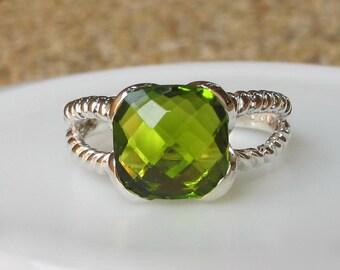 Square Peridot Ring-Sterling Silver Ring- Green Gemstone Ring- August Birthstone Ring- Green Ring- Twist Band Ring