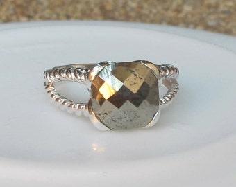 Pyrite Ring- Silver Ring- Gemstone Ring- Stone Rings- Gold Rings- Statement Ring- Quartz Ring- Topaz Ring