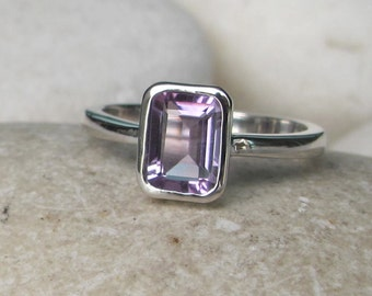 Dainty Stackable Amethyst Sterling Silver Rectangle Ring
