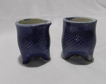 SUGAR & CREAMER SET Handmade Cobalt Blue