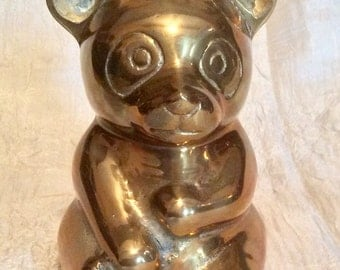 """Vintage Unique Large 5"""" Tall X 3 1/2"""" Wide Brass Teddy Bear Statue or Figurine, Made in Korea"""
