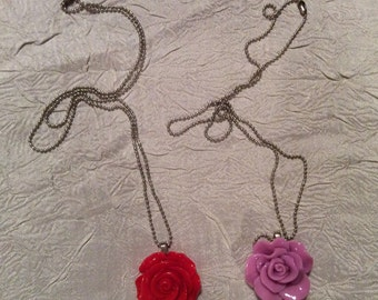 """Two Cabochon Rose Necklaces, 1 Red  & 1 Lavender Cabochon Rose Necklaces, Rose Measures 28mm x 30mm with 20"""" Delicate Silver Tone Chain"""