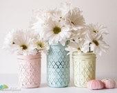 Beach Wedding Decor Painted Mason Jars Centerpiece Vase