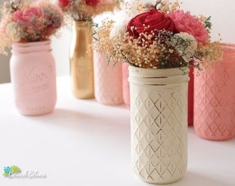 Painted Mason Jar / quilted / vase / centerpiece / rustic home decor / gift for her / 1 quilted jar / wedding decor / rustic wedding