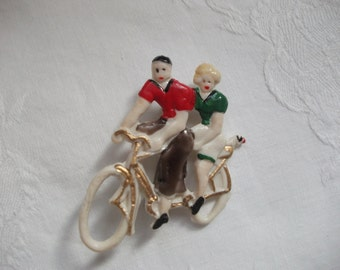 Cute whimsical early plastic brooch - Bicycle made for two