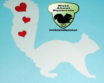 Squirrel with Hearts Decal