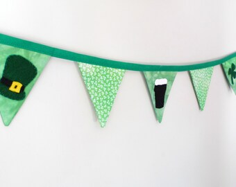 St Patricks Day bunting, Irish banner, fabric bunting,