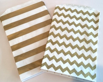 Party Favor Bags - Gold Chevron or Stripe Paper Treat Bags - Bakery Bags 7x5 medium size -  12 count