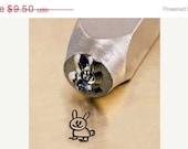 HUGE 40% Off SALE BUNNY Stamp - 6mm- New Design - metal jewelry design stamp - by Impressart Sd-A-14