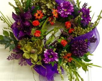Summer Wreath, Home Decor, Spring Wreath, Grapevine, Deco Mesh, Orange and Purple Large Wreath