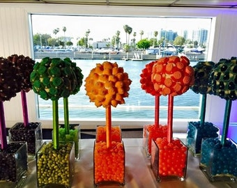 Custom Color Blocking Monochromatic Gummy Pink, Teal, Orange, Green, Yellow, Candy Buffet Centerpiece Topiary, Wedding, Mitzvah, Rainbow,