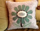 Folk Art Flower Pillow, Felt Pillow, Folk Art Home Decor, Appliqued and Embroidered Pillow, OFG, FAAP, Mother's Day Gift