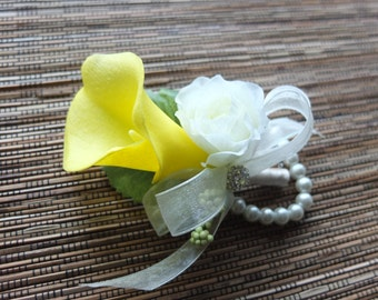 Yellow Calla Lily Wrist Corsage, yellow calla lily with ivory ribbons
