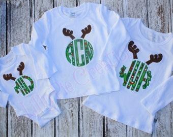 Kids Chirstmas Reindeer Monogram Applique Shirt, Girls Christmas Shirt, Boys Christmas Shirt, First Christmas, Christmas Monogram Shirt