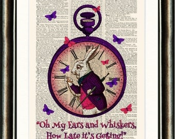 Alice in Wonderland Alice White Rabbit Pocket Watch Upcycled print on a page from a late 1800s Dictionary Buy 3 get 1 FREE
