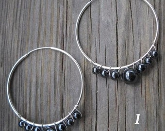 Gemstone Wrapped 925 Sterling Silver Tube Hoop Earrings 40mm