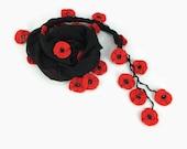 Black Scarf , Cotton cowl with crochet red poppy  flowers ,  Womens foulard , Poppy Scarflette, Black Cotton Bandana