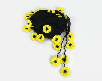 Black Scarf , Cotton cowl with crochet yellow oya poppy flowers  ,  Womens foulard , Black cotton scarflette, Cotton bandana Gift ideas