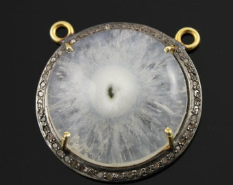 Solar Quartz with Pave diamond Circle Component,  24k Gold Vermeil over Sterling Silver, 40 mm, 1 Piece (SLR/DIA/03)