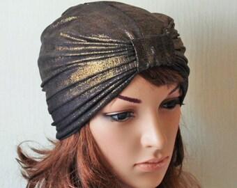 Golden Jersey Full Turban Hat, Fashion Turban, Retro Head Covering, Black Jersey Turban