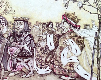 1907 ALICE in WONDERLAND Off With Her Head Arthur RACKHAM Doublesided Print Ideal for Framing