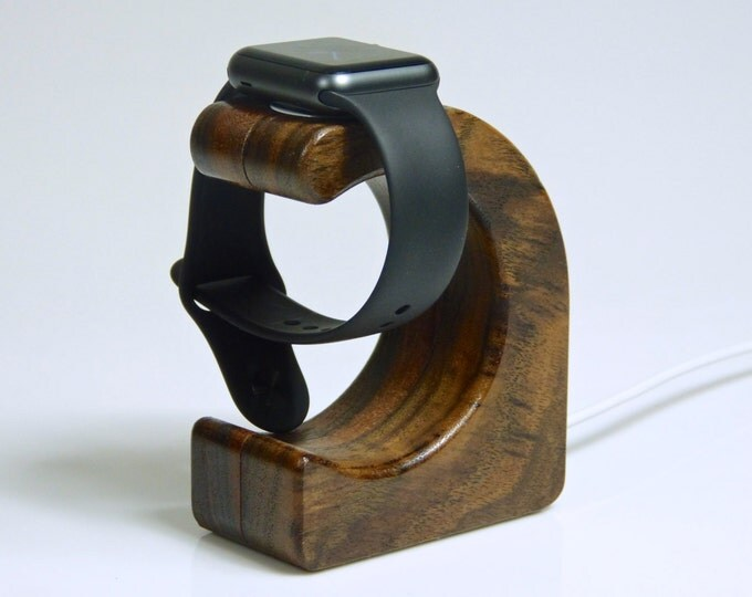 Apple Watch Stand - The WAVE in Oregon Walnut -  Use with METAL charger only!