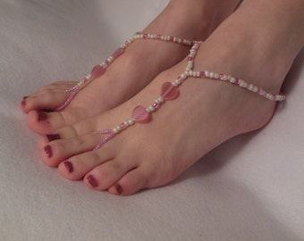 Cream and Pink Heart Barefoot Sandals