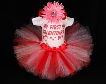 My First Valentines Day Bodysuit - Baby's First  Valentine's Day Outfit  - Babys 1st Valentine -  My 1st Valentine Tutu  Set - VDHP1522