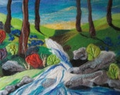 felt wall art, waterfall picture, textile art, 20 x 16 inches