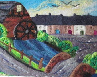 felt painting, textile art, water mill, 20 x 16 inches