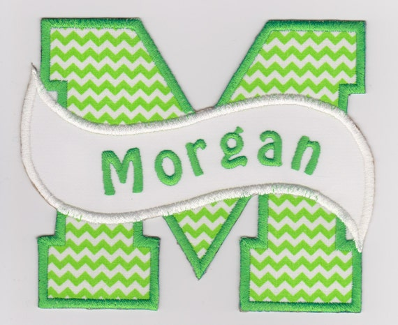 Chevron Split Letter Name Applique