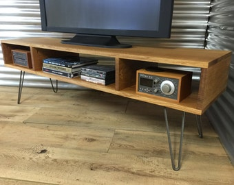 Mid century modern TV stand/entertainment console, quartersawn white oak with hairpin legs.