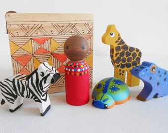 Handpainted African toy wood waldorf montessori geography social studies science learning toy game set
