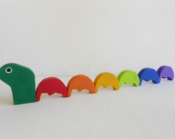 Montessori waldorf wood transitional animal caterpillar crab moose loch ness monster bug rainbow toy