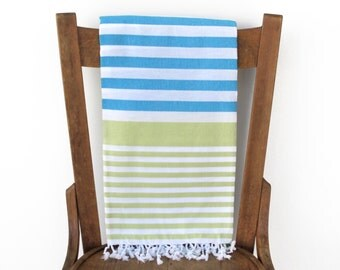 Yoga Wrap Turkish Beach Towel Cotton Turkish Towel Turkish Bath Towel Fouta Towel Sarong Pareo Cotton Blanket TURQUOISE GREEN PESHTEMAL