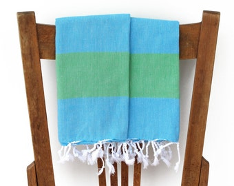 Kitchen Towels Guest Towels Set of 2 Handwoven Cotton Turkish Hand Towel Face Towel Tea Towel Bathroom Green Turquoise SEAGRASS PESHKIR SET