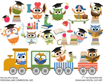School owls Digital clip art for Personal and Commercial use - INSTANT DOWNLOAD