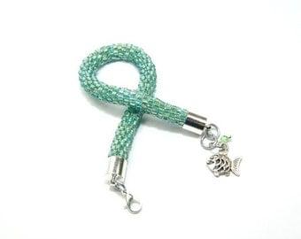 Beaded Bracelet. Toho Seed Beads Bracelet. Bead Crochet Bracelet. Fashionable Bracelet. Oriental Bracelet. Handmade Jewerly. Green Bracelet.