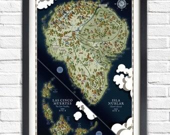 Jurassic Park - Isla Nublar Map - 19x13 Poster