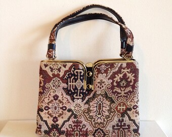 carpet bag purse. vintage mid century asian carpet bag tapestry handbag purse g