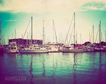 Clearance Sale - Florida photograph, ocean art, fine art photography, retro photography, turquoise, nautical decor - Harbor