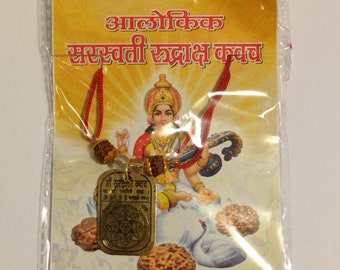 Holy Saraswati Temple Blessed Amulet on Sacred Thread Rudraksha Quartz