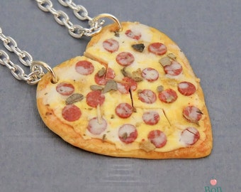Pizza Best Friends Necklace Set, Friendship Jewelry, Miniature Food Necklace, Polymer Clay Charm, Heart Pizza Necklace, Fake Food Jewelry